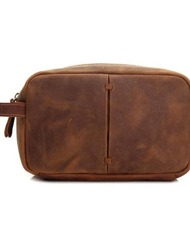 Cool Leather Mens Zipper Wristlet Bag Vintage Clutch Zipper Bags for Men