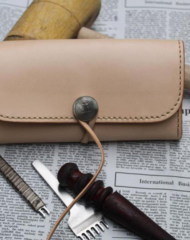 Handmade Leather Mens Clutch Long Wallet Cool Vintage Long Wallet for Men
