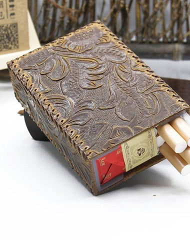 Handmade Leather Cigarette Holder Mens Engraved Floral Cigarette Holder Case for Men