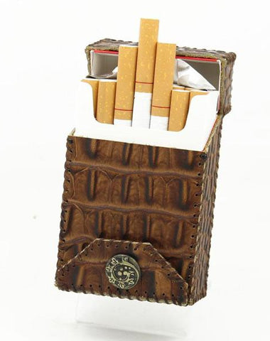Handmade Cool Leather Mens Coffee Cigarette Holder Case Cigarette Holder for Men