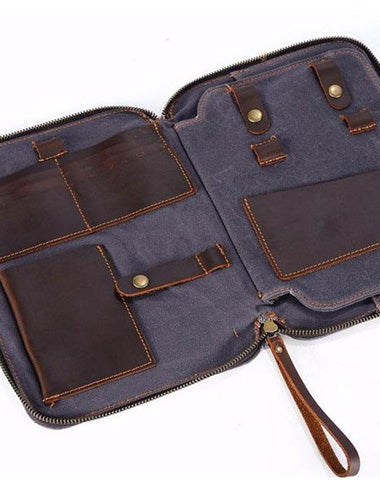 Cool Waxed Canvas Leather Mens Wristlet Bag Work Clutch Zipper Bag for Men