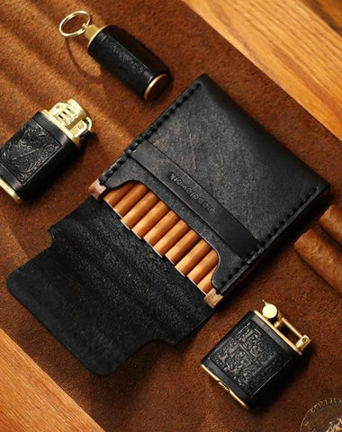 Cool Wooden Black Leather Mens Cigarette Case Handmade Custom Cigarette Holder for Men