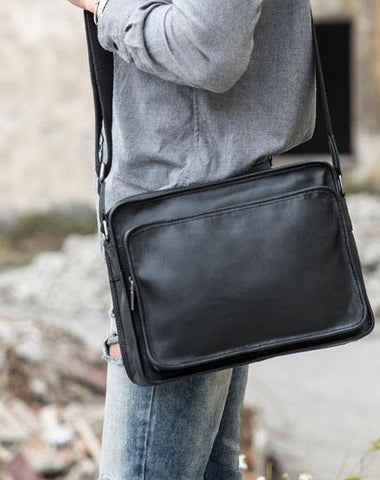 Black Cool Leather Mens Shoulder Bags Messenger Bags for Men