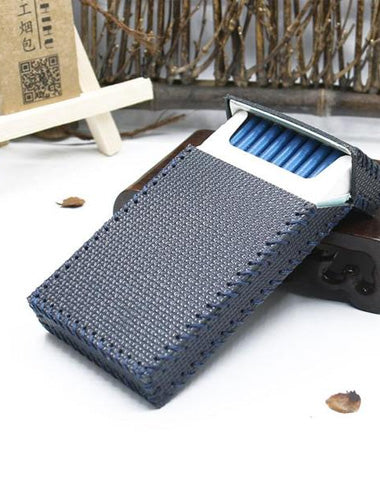 Handmade Leather Dark Blue Womens Cigarette Holder Case for Women
