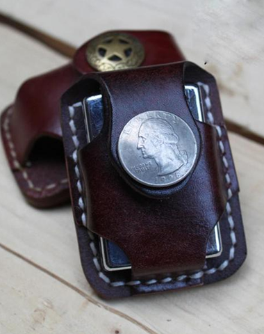 Handmade Leather Mens Zippo Lighter Pouch with Loop Biker Zippo lighter case with Clip