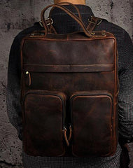 Cool Mens Leather Backpack Vintage Travel Backpack School Backpack for men