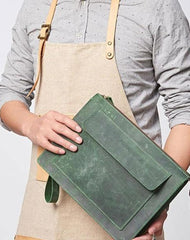 Cool Leather Large Mens Wristlet Bag Vintage Clutch Zipper Bag for Men