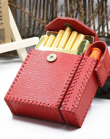 Handmade Leather Womens Red Cigarette Holder Case with Lighter holder for Women