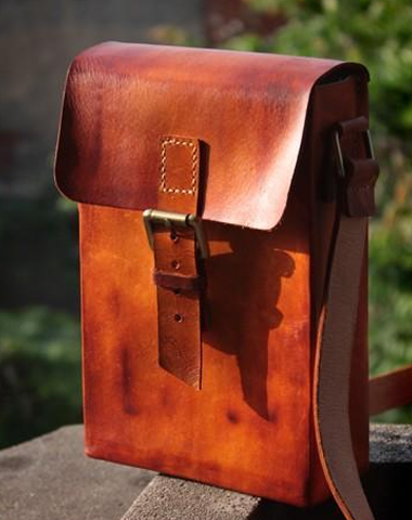 Handmade Vintage Leather Mens Messenger Bag Box Bag Brown Shoulder Bag for Men