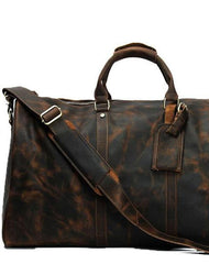 Cool Mens Leather Large Weekender Bag Duffle Bag Travel Bag for Men