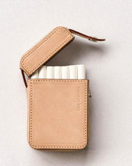 Cool Beige Leather Mens 20pcs Cigarette Holder Case Cool Custom Cigarette Case for Men
