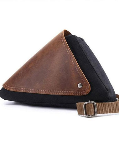 Mens Waxed Canvas Leather Triangular Side Messenger Bag Canvas Courier Bags for Men