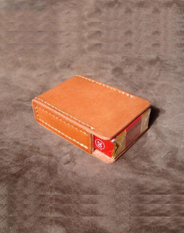 Handmade Cool Brown Leather Mens Cigarette Case Cigarette Holder Case for Men