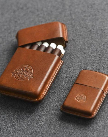 Handmade Brown Leather Mens 10pcs Cigarette Holder Case Cool Custom Cigarette Case for Men