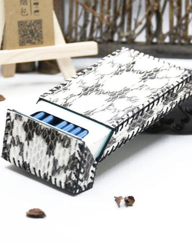 Cute Handmade Snake Leather Womens White Cigarette Holder Case for Women