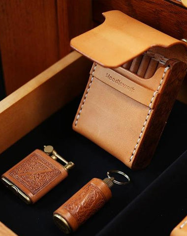 Wooden Beige Leather Mens Cigarette Case Cool Custom Cigarette Holder for Men