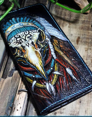 Handmade leather Biker wallet Indian Eagle trucker wallet leather men Tooled chain wallet