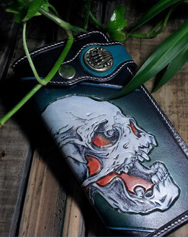 Handmade leather Biker wallet chain wallet long skull wallet leather mens Tooled wallet