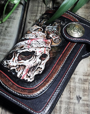 Handmade leather Biker trucker chain long skull wallet leather men Black Carved Tooled wallet