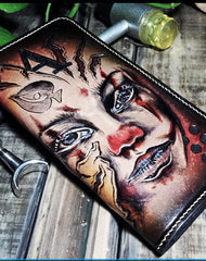 Handmade leather Biker trucker long Joker wallet leather  men Black Carved Tooled wallet