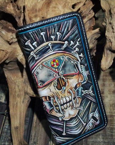 Handmade leather Biker trucker long Megadeth skull wallet leather men Black Carved Tooled wallet