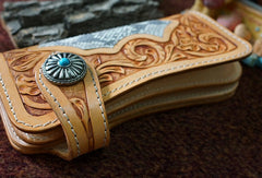 Handmade leather beige biker wallet floral carved chian bifold Long wallet purse for men