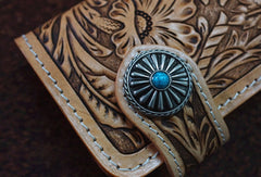 Handmade leather biker beige wallet floral carved chian bifold Long wallet purse for men