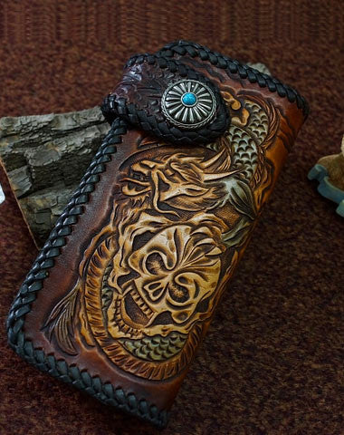 Handmade tan black leather Skull dragon carved biker wallet chain Long wallet for men