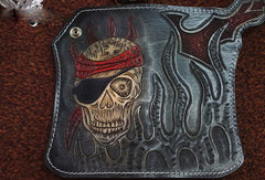 Handmade black leather punk skull carved biker chain wallet Long wallet clutch for men