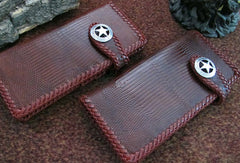 Handmade leather coffee lizard skin biker wallet  Long wallet clutch purse for men