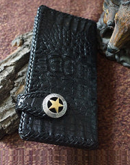 Handmade alligator skin crocodile leather black biker wallet Long wallet clutch for men