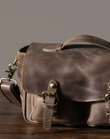 Cool leather men Camera bag messenger bags vintage shoulder bag for men