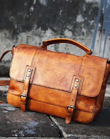 Cool Leather mens messenger bag Vintage shoulder bag laptop bag for Men