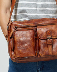 Cool leather mens Small messenger vintage shoulder bag for men