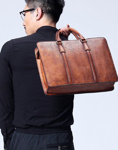 Handmade leather men Briefcase bag messenger large vintage shoulder laptop bag vintage bag