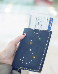 Handmade Leather passport wallet purse women billfold wallet constellation