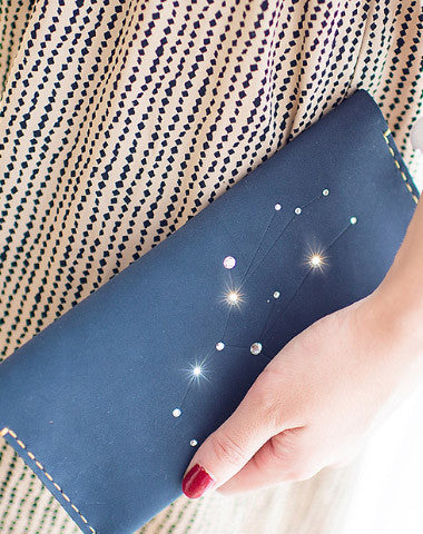Handmade Leather long wallet purse women clutch wallet constellation