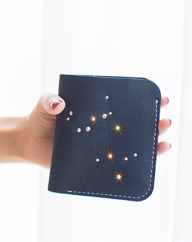 Handmade Leather short wallet purse women small wallet constellation