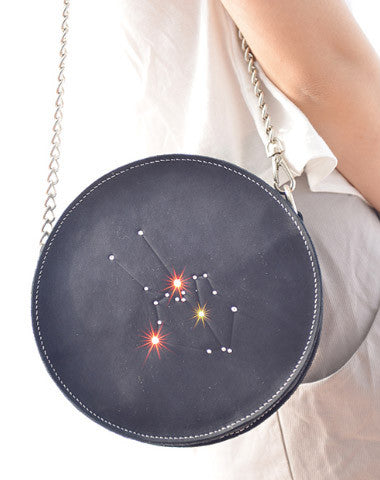 Handmade Leather round bag shoulder bag constellation women leather crossbody bag