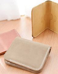 Handmade Leather short Minimalist wallet purse women small wallet vintage