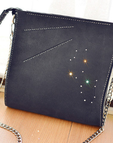 Handmade Leather purse clutch shoulder bag constellation women leather crossbody bag