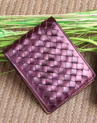 Handmade knit fashion leather short ID card photo holder bifold wallet for women/lady girl