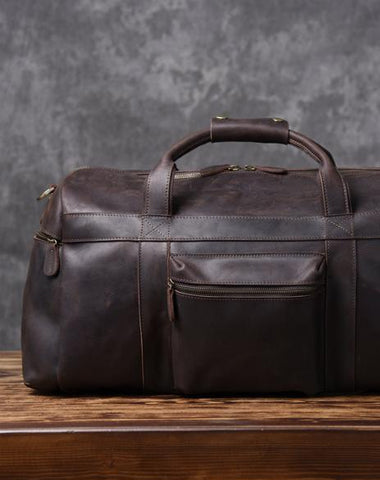 Cool Leather Mens Weekender Bag Travel Bag Duffle Bags Holdall Bag for 5b109a2db1bde