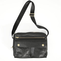 Black Genuine Leather Mens Cool Small Side Bag Messenger Bag Black Courier Bag for Men