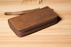 Vintage Leather Mens Clutch Wallet Double Zipper Clutch Wristlet Wallet for Men