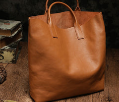 Genuine Fashion Leather Brown Gray Tote Bag Shopper Bag Tote Purse For Women