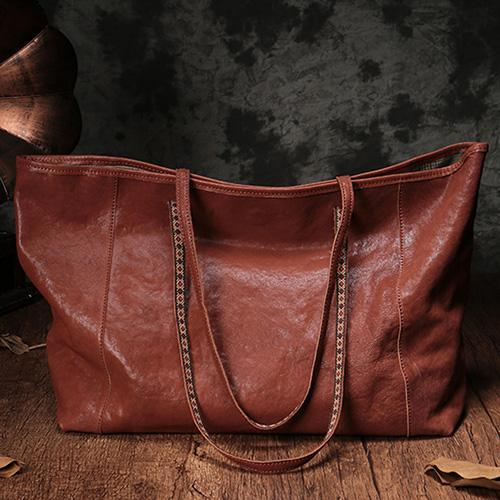 "16"" Womens Brown Leather Tote Bag Black Womens Handbag Shopper Bag Purse for Ladies"