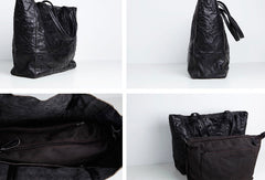 Black Leather Fashion Large Tote Bag Wrinkled Shopper Bag Shoulder Bag Purse For Women