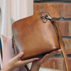 Brown Leather Small WOmens Square Side Bag Small Shoulder Bag Vintage Cross Body Purse for Ladies