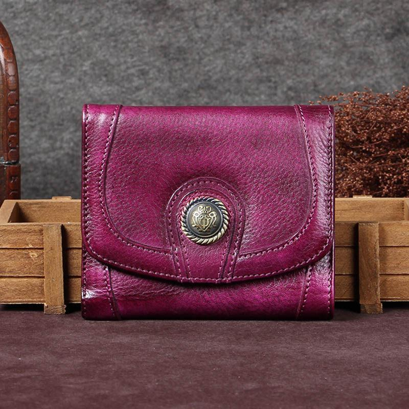 Purple Vintage Leather Womens Buckle Small Trifold Red Short Wallet Purse for Ladies